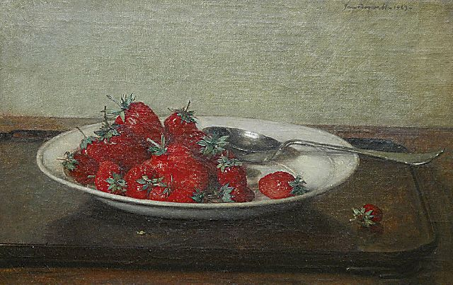 Bogaerts J.J.M.  | A still life with strawberries on earthenware plate, oil on canvas 27.1 x 41.4 cm, signed u.r. and dated 1929