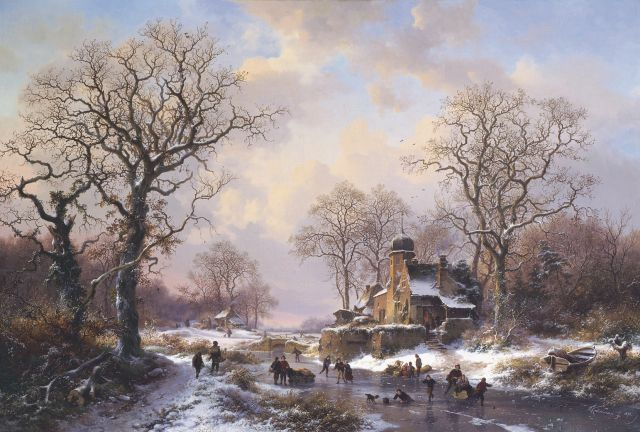 Frederik Marinus Kruseman | A winter landscape with skaters on the ice, a castle in the distance, oil on canvas, 64.5 x 94.5 cm, signed l.r. and dated 1871
