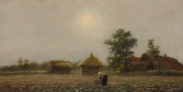 Evert Pieters | A farmer's wife at work, oil on canvas, 18.7 x 36.2 cm, signed l.l.