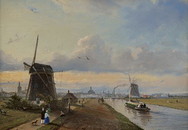 Jan Heppener | A view of The Vliet near The Hague with a train, oil on panel, 14.4 x 20.7 cm