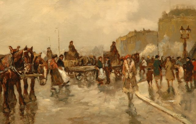 Cor Noltee | A busy day in Paris, oil on canvas, 60.1 x 90.3 cm, signed l.r.