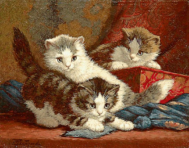 Cornelis Raaphorst | Three playing kittens, oil on canvas, 24.5 x 30.7 cm, signed l.l.