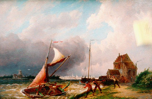 Pieter Cornelis Dommershuijzen | Ships by the Moerdijk, oil on panel, 27.5 x 38.0 cm, signed l.l. and dated 1887