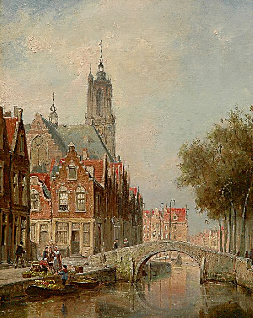 Cornelis Christiaan Dommelshuizen | A view of the Langegracht in Amersfoort with the O.L. Vrouwetoren, oil on canvas, 38.4 x 31.2 cm, signed l.r. and dated '97