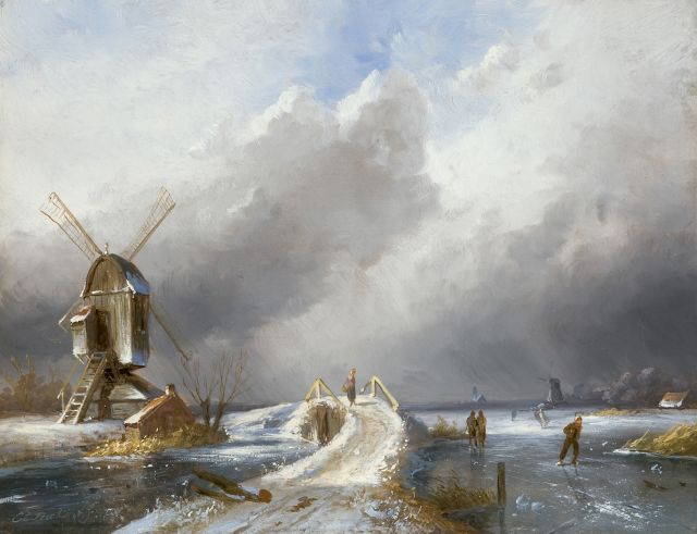 Charles Leickert | Skaters in an upcoming snowstorm, oil on panel, 20.8 x 27.0 cm, signed l.r.