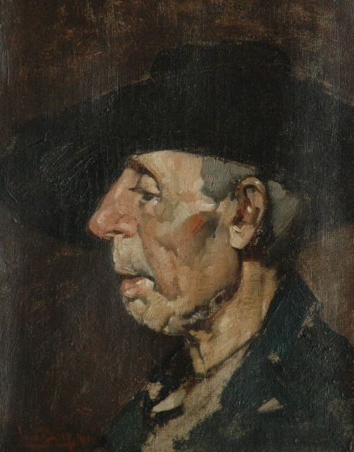 Berg W.H. van den | Farmer, oil on canvas 24.7 x 19.0 cm, signed l.r. and dated 1918