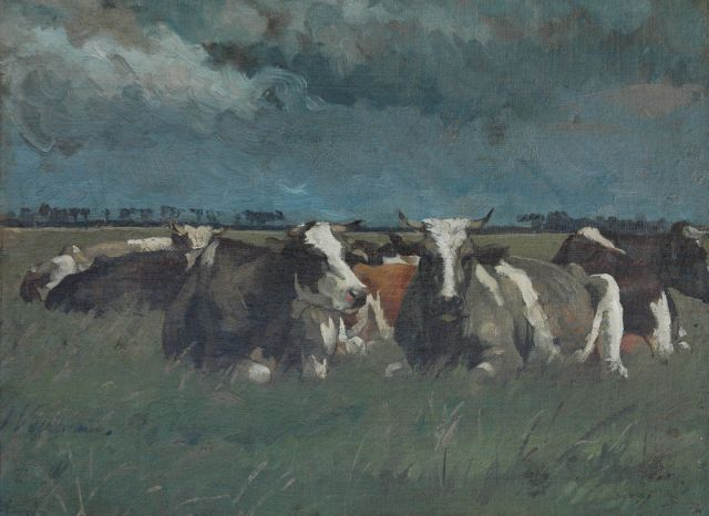 Jan Voerman sr. | Cows in de meadow near the IJssel river, Holland, oil on canvas, 30.3 x 41.3 cm, signed l.l.