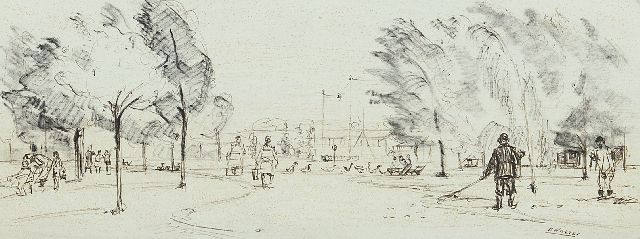 Cor Noltee | Public garden, drawing on paper, 11.4 x 30.5 cm, signed l.r.