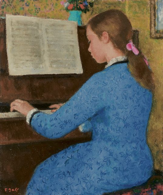 François Gall | Elizabeth-Anne Gall at the piano, oil on canvas, 46.1 x 38.2 cm, signed l.l.