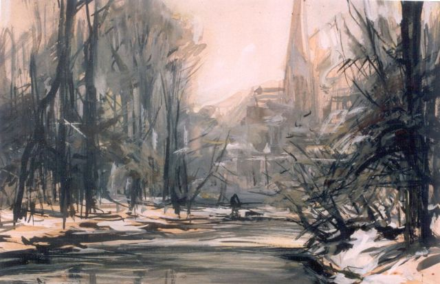 Louis Apol | A winter landscape, watercolour on paper, 16.8 x 24.5 cm, signed l.l.