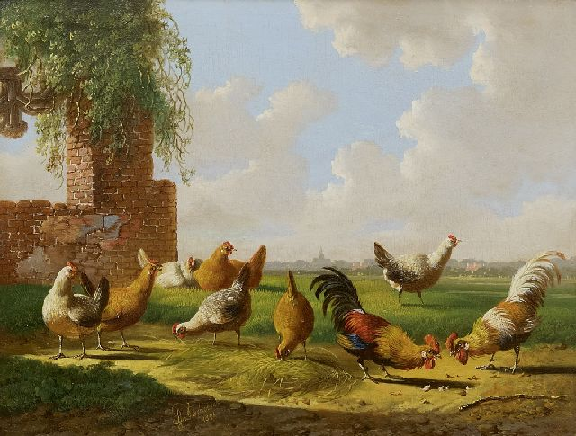 Albertus Verhoesen | The cockfight, oil on panel, 17.9 x 23.6 cm, signed l.m. and dated 1871