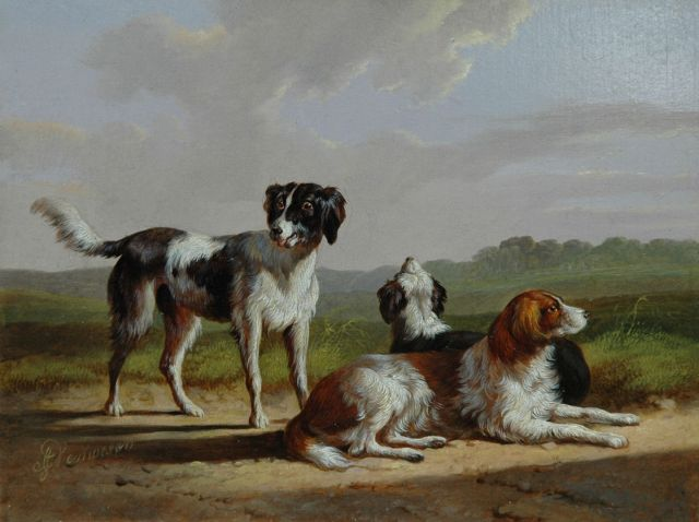 Albertus Verhoesen | Three hounds in a landscape, oil on panel, 13.3 x 17.5 cm, signed l.l.