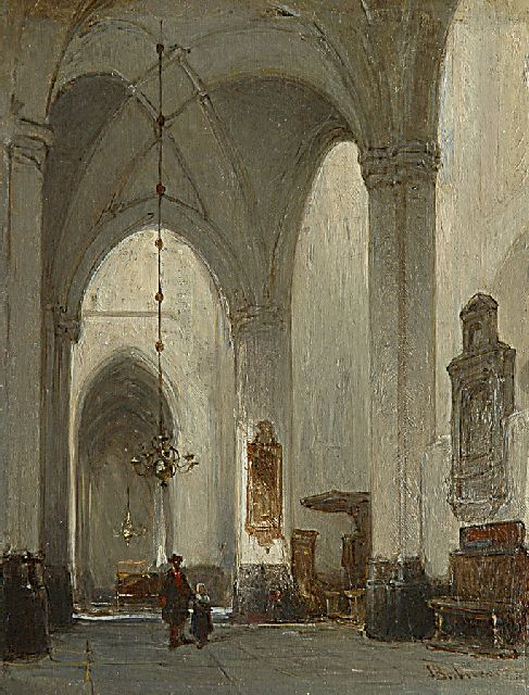Johannes Bosboom | The interior of the Grote Kerk in Breda, oil on panel, 20.8 x 16.0 cm, signed l.r.