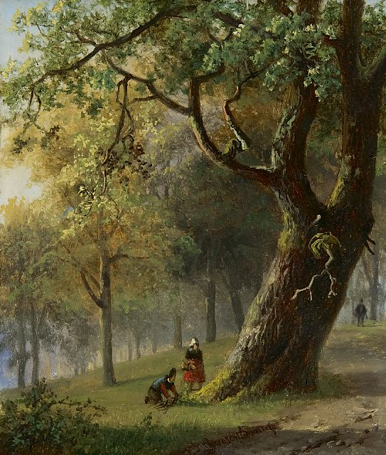 Nicolaas Johannes Roosenboom | Figures in a wooded landscape, oil on panel, 15.4 x 13.0 cm, signed l.c.