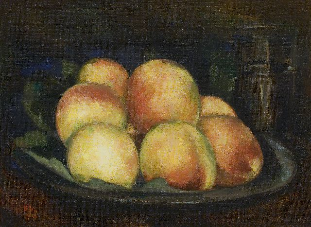 Toon Kelder | Peaches in a tin dish, oil on canvas, 32.3 x 43.3 cm, signed l.l. and dated '40