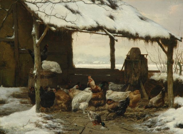 Eugène Remy Maes | Poultry in a snow covered shed, oil on panel, 26.6 x 36.0 cm, signed l.r.