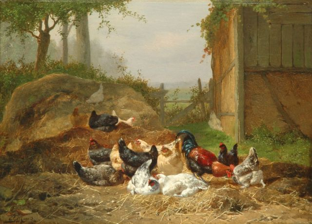 Eugène Remy Maes | Poultry in a sunlit farmyard, oil on panel, 26.5 x 36.0 cm, signed l.l.