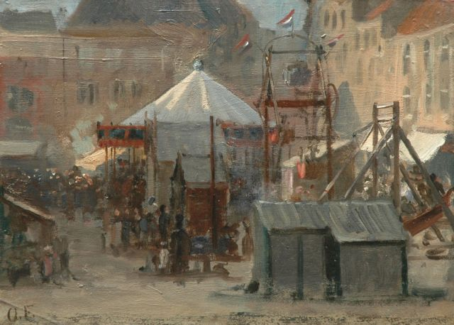 Otto Eerelman | At the fair, Vismarkt, Groningen, oil on paper laid down on panel, 24.6 x 33.8 cm, signed l.l. with initials
