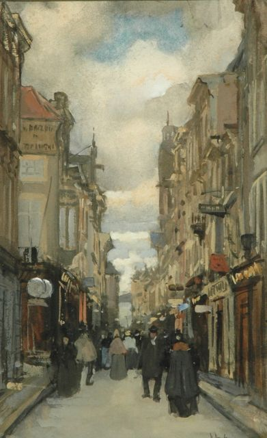 Floris Arntzenius | View on the Spuistraat, The Hague, watercolour and gouache on paper, 24.6 x 15.8 cm, signed l.r.