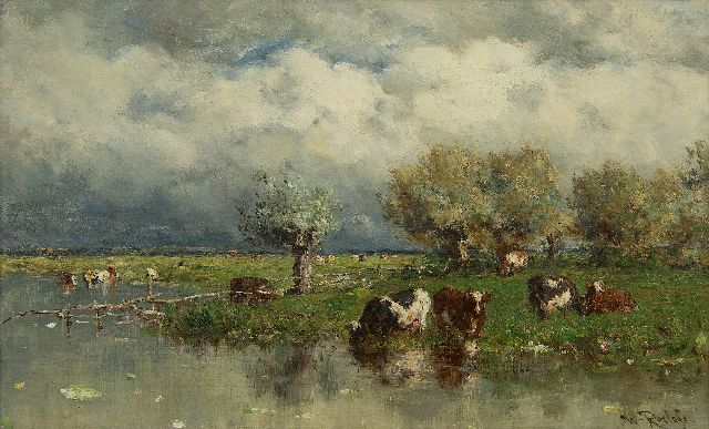 Roelofs W.  | Cows in a water landscape, oil on canvas 24.2 x 38.9 cm, signed l.r. and painted ca. 1880