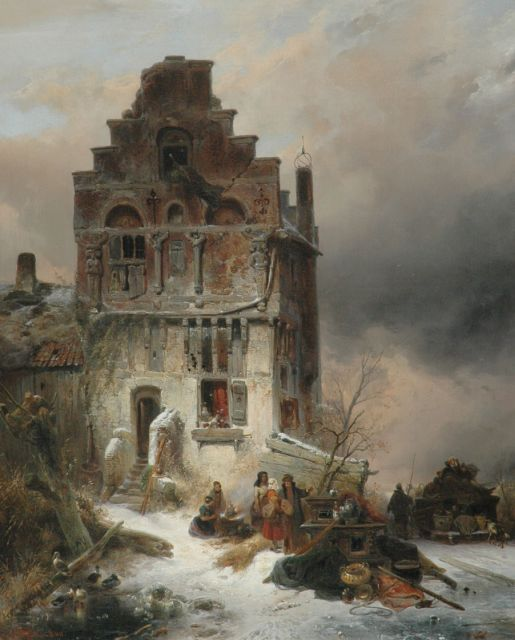 Wijnand Nuijen | Moving house on a winter day, oil on canvas, 112.9 x 91.6 cm, signed l.l. and dated 1837