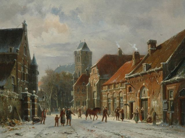 Adrianus Eversen | Townview in winter with figures, oil on canvas, 31.0 x 40.6 cm, signed l.r.
