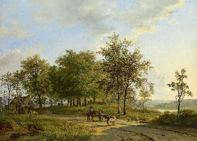 Barend Cornelis Koekkoek | Drovers and their cattle in a summer landscape, oil on canvas, 44.3 x 60.2 cm, signed l.r. and dated 1827