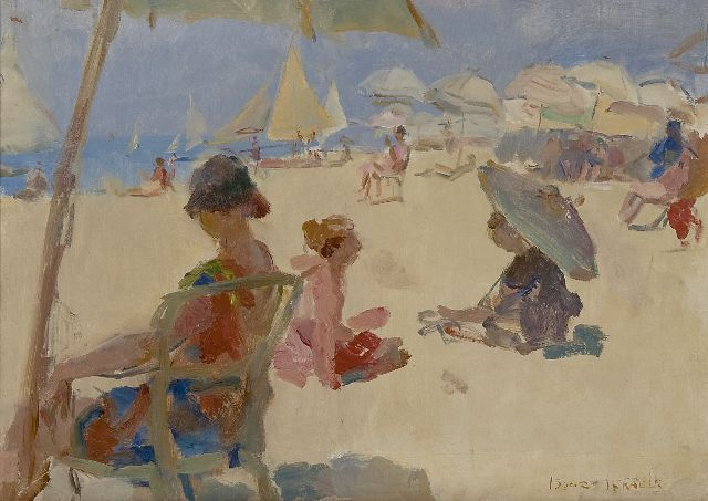 Israels I.L.  | Figures on the beach of Il Lido di Venezia, oil on canvas, 37.1 x 52.2 cm, signed l.r.