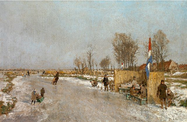 Mastenbroek J.H. van | Winter fun on a Dutch canal, oil on canvas 47.2 x 71.2 cm, signed l.r. and dated 1933