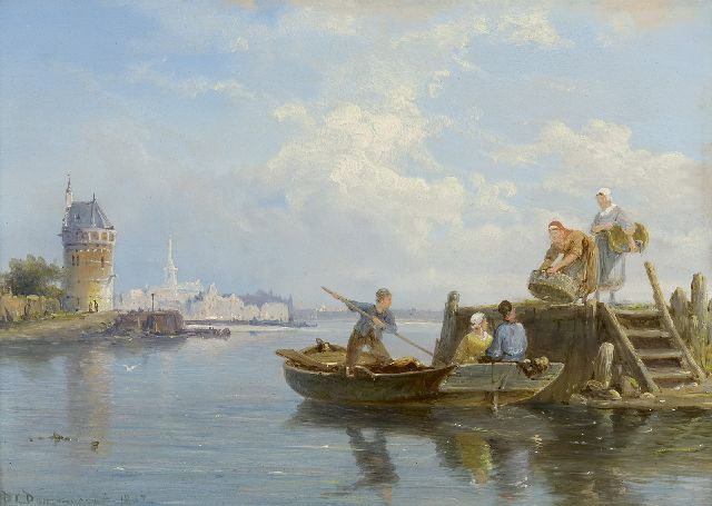 Pieter Cornelis Dommershuijzen | Unloading the catch, Hoorn, oil on panel, 18.8 x 25.4 cm, signed l.l. and dated 1887