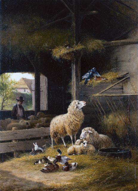 August Knip | Spring in the sheep-pen, oil on canvas, 106.5 x 76.3 cm, signed l.r. and dated 1858