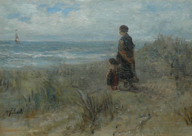 Jozef Israëls | In contemplation, oil on panel, 27.2 x 38.7 cm, signed l.l.