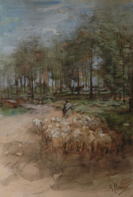 Anton Mauve | A shepherd and his flock on a sandy track, watercolour and gouache on paper, 49.7 x 34.2 cm, signed l.r.