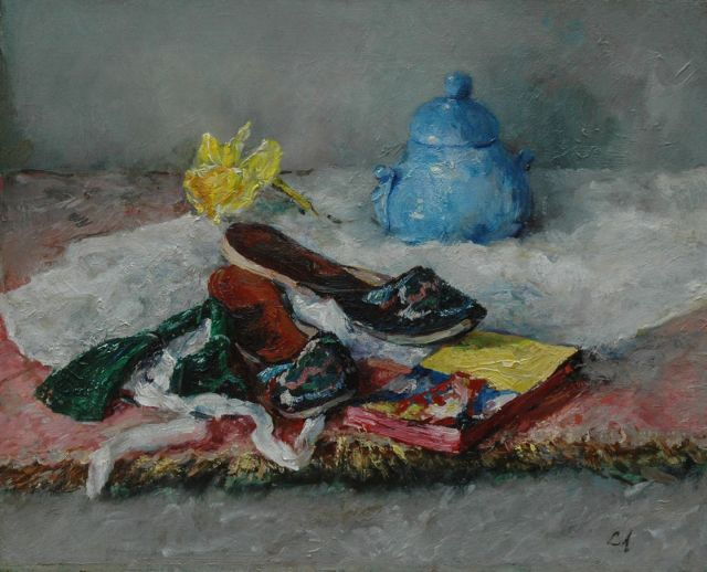 Lizzy Ansingh | A still life with oriental slippers, oil on canvas, 40.5 x 50.5 cm, signed l.r. with initials