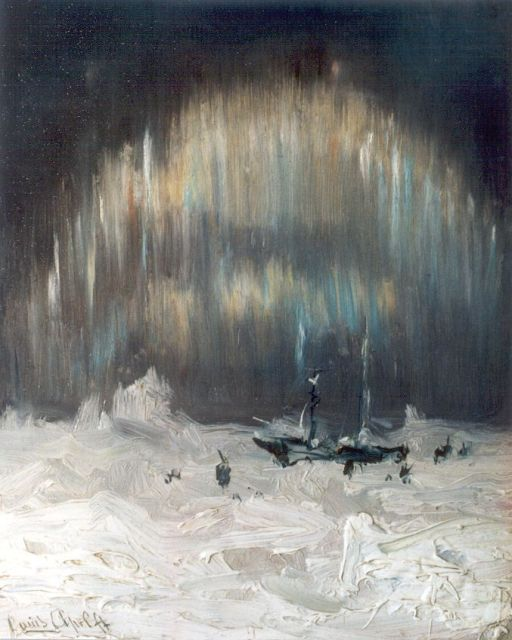 Louis Apol | Aurora Borealis, Nova Zembla, oil on panel, 20.0 x 16.1 cm, signed l.l.