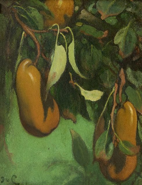 Jacobus van Looy | Calabash Pears, oil on panel, 34.9 x 26.7 cm, signed l.l. with initials