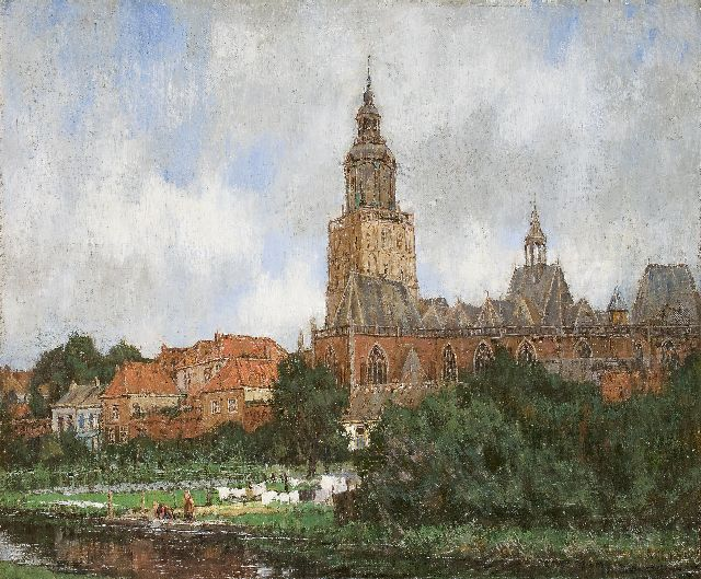 Arnold Marc Gorter | A view of Zutphen with the Moddergracht and the St. Walburgiskerk, oil on canvas, 46.5 x 56.5 cm, signed l.r.
