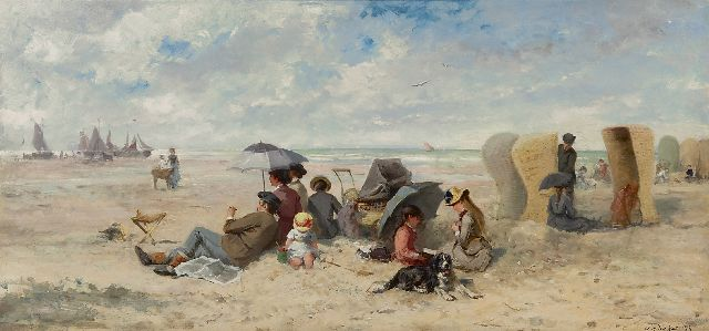 Johannes Marius ten Kate | Family day on the Scheveningen beach, oil on panel, 33.3 x 69.2 cm, signed l.r.