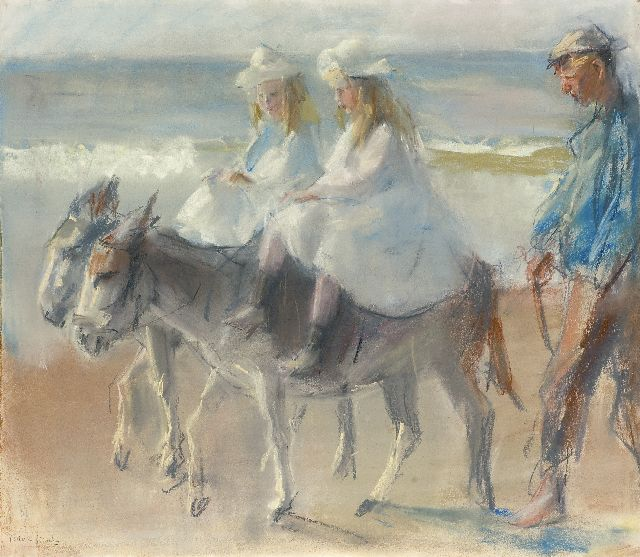 Israels I.L.  | A donkey-ride on the beach of Scheveningen, pastel on paper, 49.5 x 56.6 cm, signed l.l.