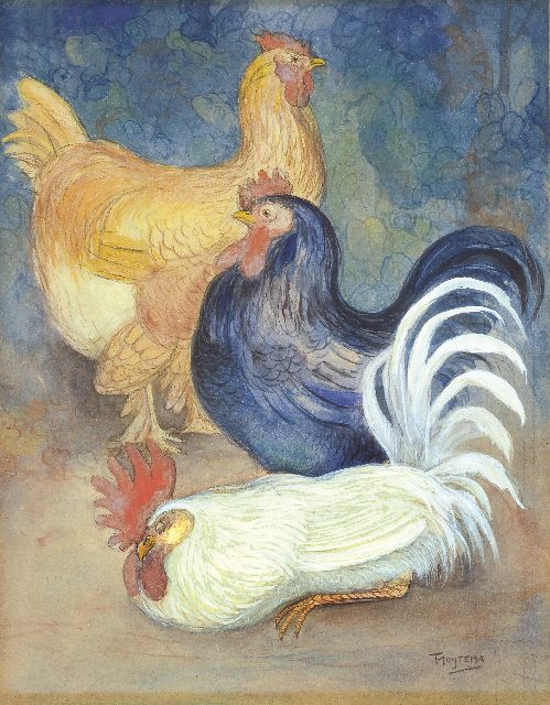 Theo van Hoytema | Hens and Rooster, chalk and gouache on cardboard, 49.7 x 38.7 cm, signed l.r. and executed circa 1898