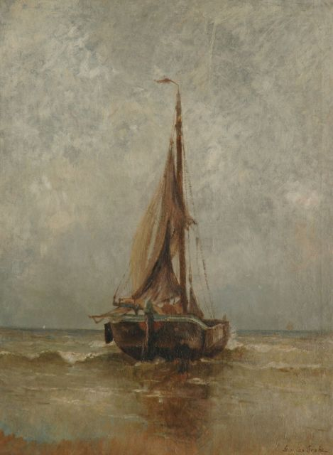 German Grobe | A fishing boat in the breakers, Katwijk, oil on canvas, 80.1 x 59.9 cm, signed l.r.