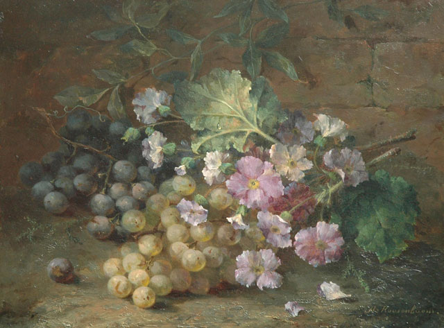 Margaretha Roosenboom | A still life with primroses and grapes, oil on panel, 31.7 x 41.7 cm, signed l.r.
