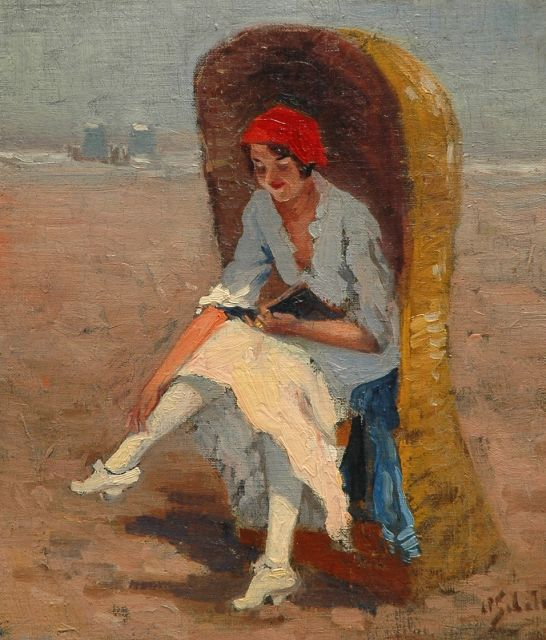 Anthonie Pieter Schotel | Reading on the beach, oil on canvas laid down on board, 36.6 x 31.2 cm, signed l.r.