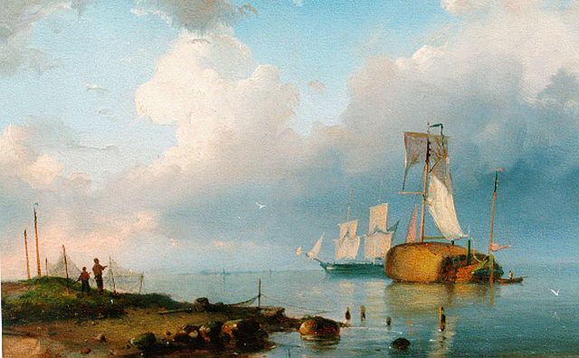 Pieter Cornelis Dommershuijzen | Shipping on the Zuiderzee, oil on panel, 19.8 x 29.3 cm, signed l.l. with monogram and dated '54