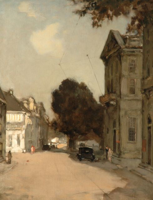 Ype Wenning | The Korte Voorhout, The Hague, with the Royal Theatre, oil on canvas, 50.5 x 40.5 cm, signed l.r.