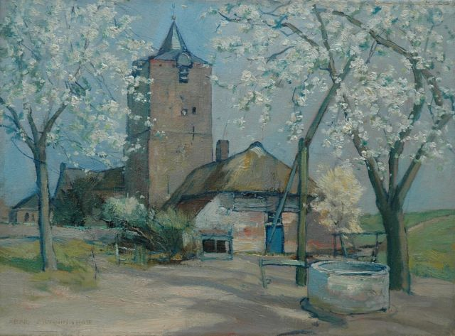 Xeno Münninghoff | Trees in bloom by the church in Dodewaard, oil on canvas, 30.3 x 40.8 cm, signed l.l.