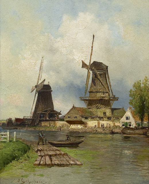 Piet Schipperus | Sowing mills 'De Vlaggeman' and 'Het Haantje' on the Schie near Rotterdam, oil on panel, 29.7 x 23.7 cm, signed l.l.