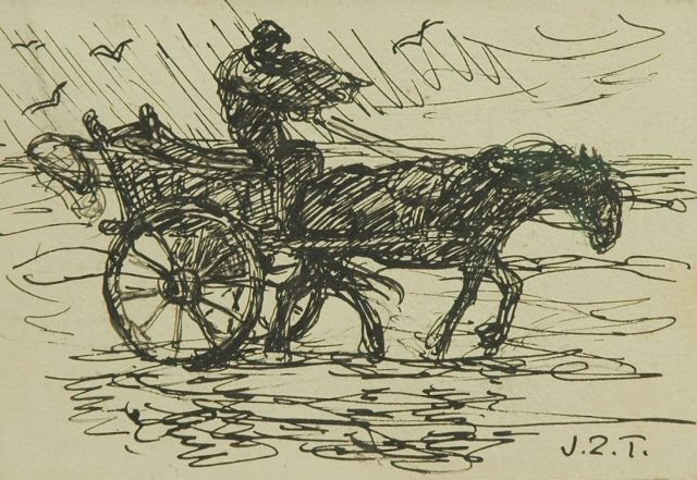 Jan Zoetelief Tromp | Fisherman on the beach, Katwijk, pen and black ink on paper, 12.0 x 17.6 cm, signed l.r. with initials