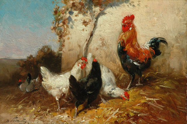 Henry Schouten | A rooster and his hens, oil on panel, 16.9 x 24.7 cm, signed l.l.
