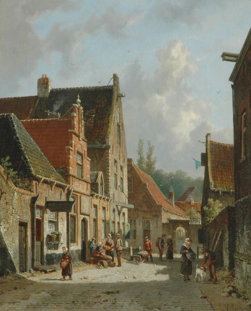 Adrianus Eversen | A busy Dutch street with figures, oil on panel, 43.8 x 35.3 cm, signed l.r. in full and with monogram